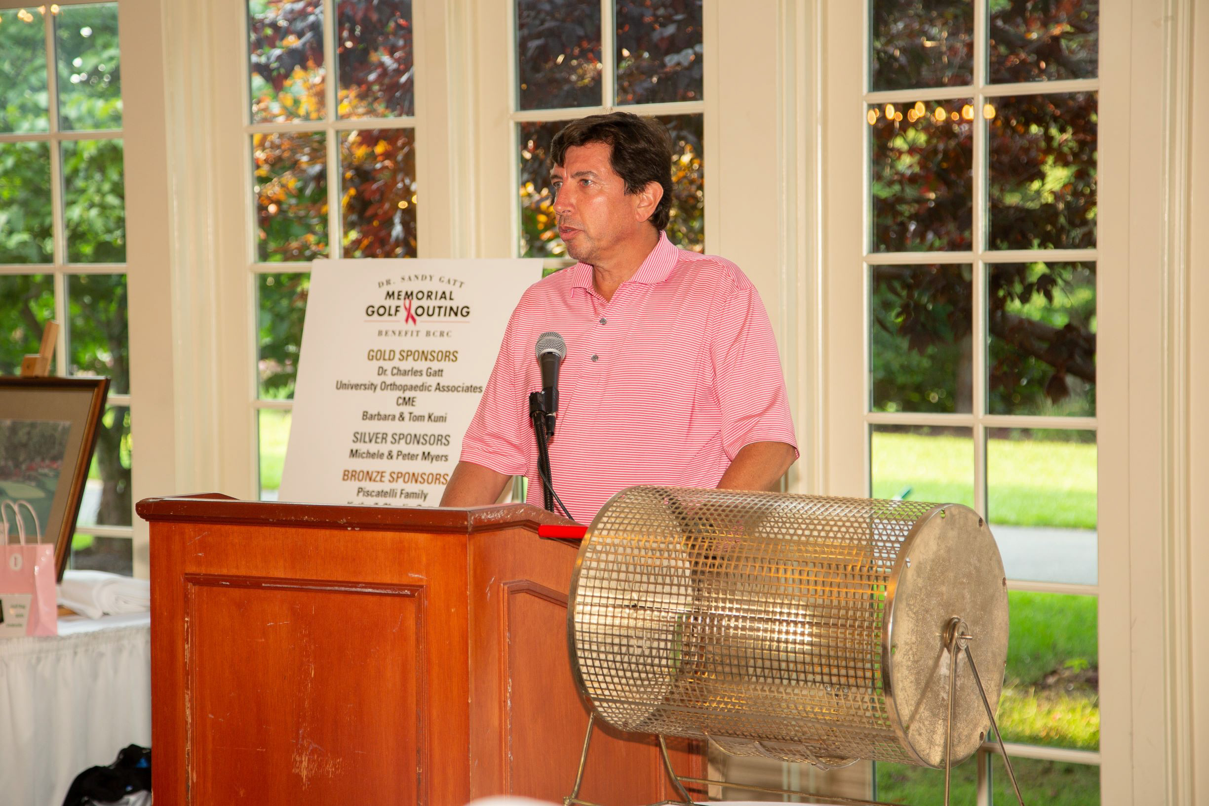 Dr. Charles J. Gatt, Jr. talking about the importance of the YWCA Princeton's Breast Cancer Resource Center (BCRC) and its transportation program supported by funds raised at the 5th Annual Gatt Golf Tournament.