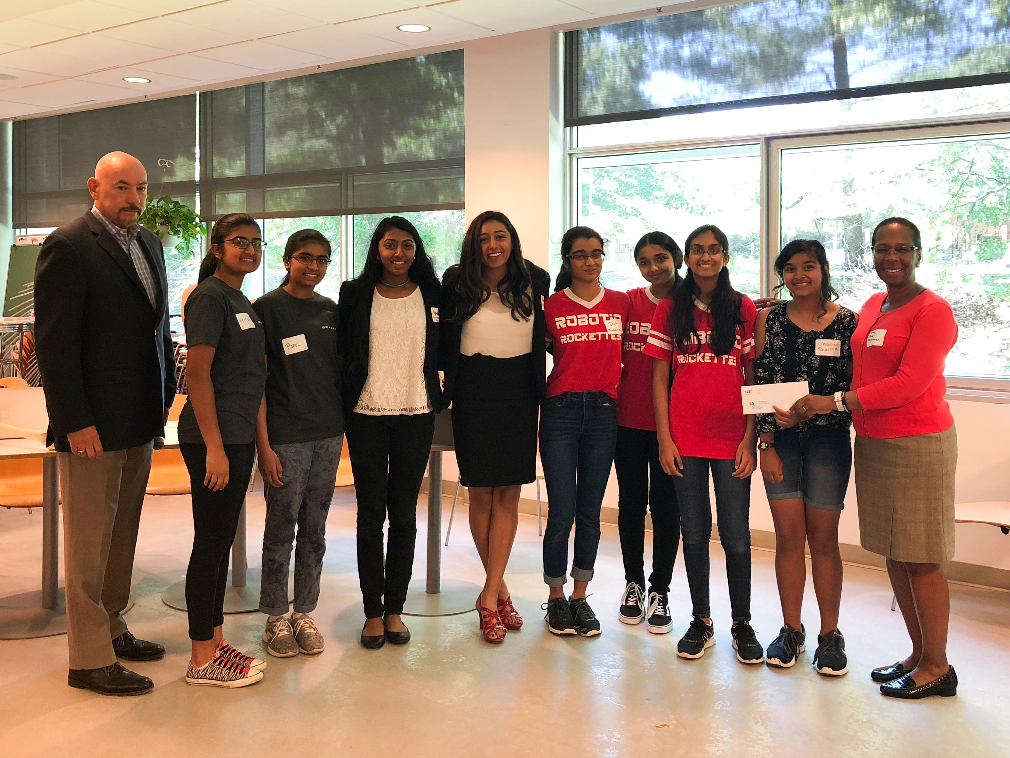 YWCA Princeton All-Girl Competitive Robotics Teams with Douglas Clayton, SVP at SES and Dr. Cheryl Rowe-Rendleman, YWCA Princeton Board President